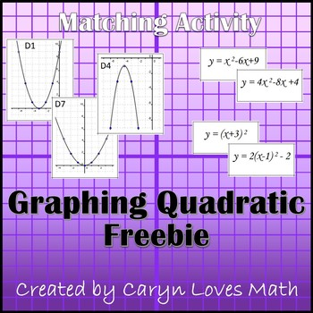 matching graphs to quadratic equations activity free version tpt. Black Bedroom Furniture Sets. Home Design Ideas