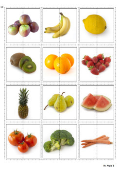 Fruits and Vegetables Matching Halves for Autism