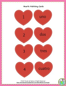 Matching Hearts Valentine's Day Printable Spanish Game