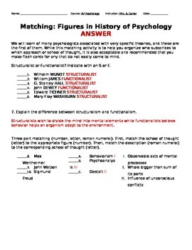Matching Historical Figures and Early Schools of Thought Worksheet