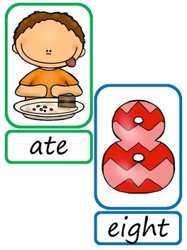 Matching Homophones Pairs Card Game