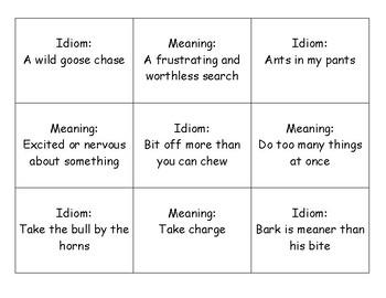 Matching Idioms Game