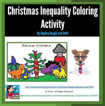 Dinosaur Christmas Inequality Coloring Activity