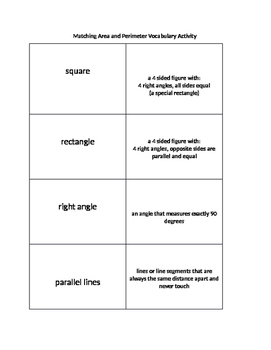 Matching Interactive Area and Perimeter Vocab Sort