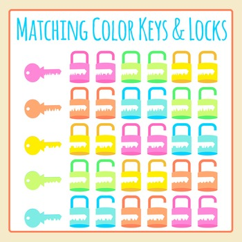 Matching Keys and Locks in Color Clip Art Set for Commercial Use