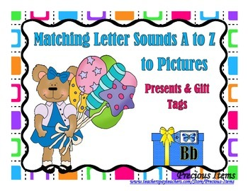 Matching Letter Sounds A to Z - Presents and Gift Tags