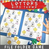 Matching Letters File Folder Game BIRD THEME