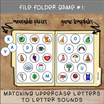 Matching Letters to Letter Sounds File Folder Games