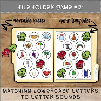 Matching Letters to Letter Sounds File Folder Games WINTER THEME