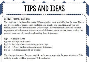 Matching Linear Functions in Multiple Representations Task Cards/Game