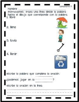 Matching Ll, ll words in spanish