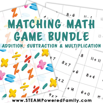 Matching Math Game Bundle - Addition, Subtraction & Multiplication