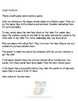 Matching Math Game - Multiplication