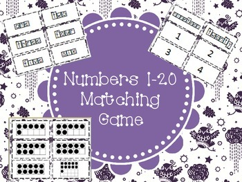 Matching Math Game: Number Words, Numbers, and Ten Frame