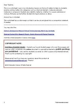 Matching Matter Worksheet:  Is it an element, compound or mixture?