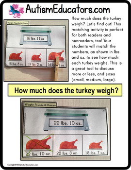 Matching Measurement TURKEY TASK CARDS for Thanksgiving or Fall Work Task Bins