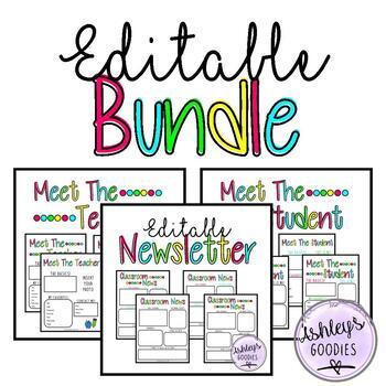 Matching Meet the Teacher, Student, and Editable Newsletter BUNDLE (vol.3)