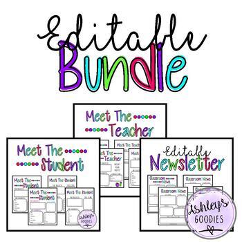 Matching Meet the Teacher, Student, and Newsletter BUNDLE (vol.1)