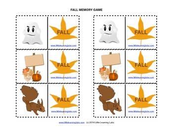 Matching Memory Game with Fall Theme - 12 pairs color cards for 24 cards