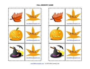 Matching Memory Game with Fall Theme - 12 pairs color card