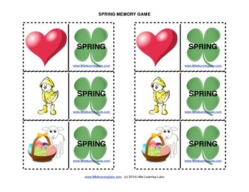 Matching Memory Game with Spring Theme - 12 pairs color cards for 24 cards