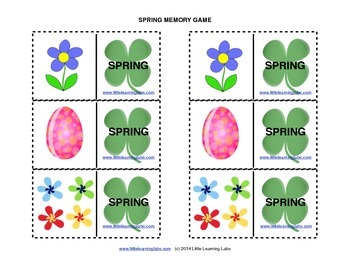 Matching Memory Game with Spring Theme - 12 pairs color ca