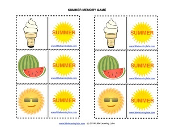 Matching Memory Game with Summer Theme - 12 pairs color cards for 24 cards