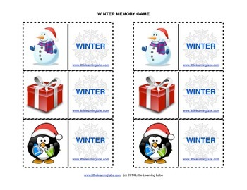 Matching Memory Game with Winter Theme - 12 pairs color cards for 24 cards