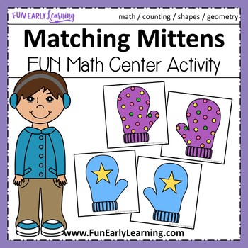 Matching Mittens - Match Center Activity for Shapes and Counting