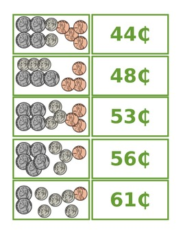 Matching Money Game - Dimes, Nickels, and Pennies