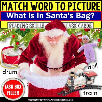 """Matching Nouns with Pictures Task Cards SANTA'S BAG """"Task Box Filler"""" for Autism"""