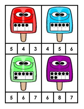 Matching Number Clip Cards - Popsicle Theme