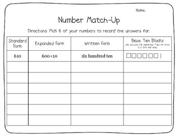 Matching Number Forms (Expanded, Written, Standard, and Base Ten Blocks)