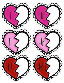 Matching Number Hearts