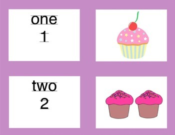 Matching Numbers 1-10 Cupcake Theme