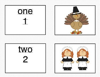 Matching Numbers 1-10 Thanksgiving Theme