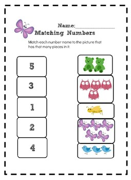 Matching Numbers 1-5