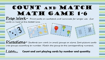 Matching Numbers 1-6 Subitzing Cards