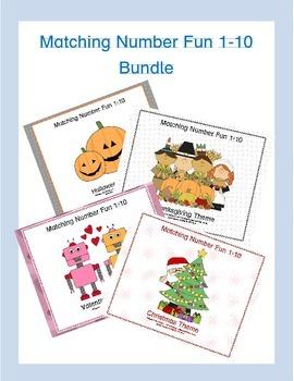 Matching Numbers Game- Kindergarten Holiday Bundle