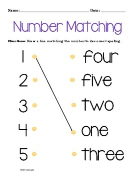 Matching Numbers: Number to Name