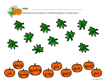 Matching Numbers: Pumpkin Theme