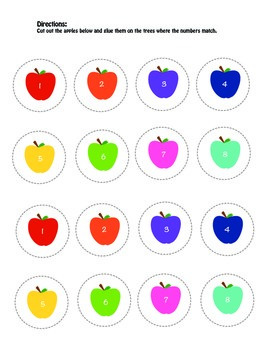 Matching Numbers and Color Apples Activity