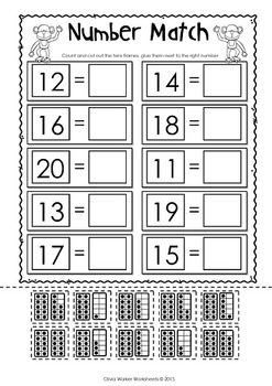 Matching Numbers to 20 (11-20) - Cut and Paste
