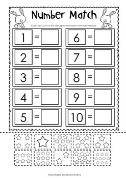 Matching Numbers to Ten  (Cut and Paste) - Match to 10 Worksheets / Printables