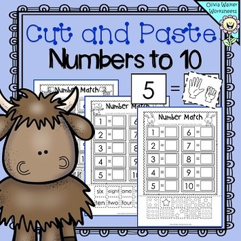 Matching Numbers to Ten  (Cut and Paste) - Match to 10 Wor