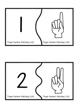 Matching Numbers with Fingers 1-20 (Self-Correcting Puzzles!)