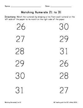 Matching Numerals 0 to 31