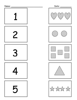 Matching Numerals to Objects Numbers 1-5