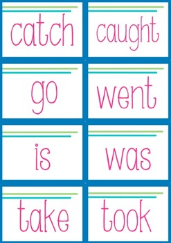 Matching Pairs Game - irregular past and present tense verbs