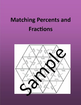 Matching Percents and Fractions - Math puzzle